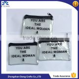 Promotion transparent plastic stitching black zipper bag with printed your own logo                                                                                                         Supplier's Choice