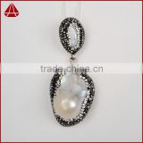 Fashion natural single biwa pearl pendants, latest design of pearl, elegant global pearl jewelry