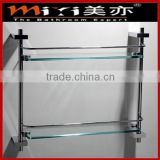 bathroom double glass display shelf