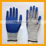 13Gauge Grey&White Nylon Lined Latex Working Glove Crinkle Finish Rubber Latex Gloves