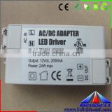 DC Constant Voltage 12V/24V 24W power supply with CE RoHS FCC, LED Adapter for LED lighting.