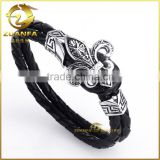 wholesale stainless steel charm mystic black double chain flower leather bracelet                                                                         Quality Choice