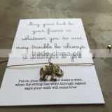Custom jewelry wish card Good luck Elephant charm bracelet                                                                                                         Supplier's Choice