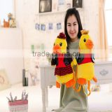 30cm lovely customized yellow stuffed plush Valentine duck doll animal backpack with black leather vest