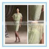 Chiffon Elegant Green Above-the-Knee Sheath with Beaded Sheer Blouson Bodice Beach Dresses for Mother of the Bride(MOMO-3028)