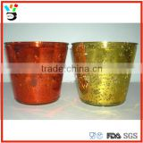Wholesales Processed Custom Color Home Garden Glassware Trapezoid Mecury Glass Flower Pot