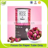 Round cardboard tea box packaging tube for rose tea