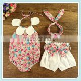 High quality baby romper set with sweet petal collar new and elagant design pure cotton romper for baby girl with pants headband