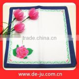 White Printing Embroidery Cotton Handkerchief