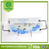 Glass rectangle glass serving tray with rack handle