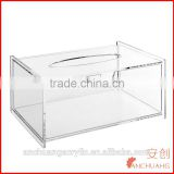 Modern Clear Acrylic Bathroom Facial Tissue Dispenser Box Cover / Decorative Napkin Holder