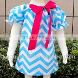Wholesale fashion baby clothes chevron dress/smocked dress for the kids