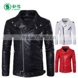 Fashion Style Multi Zippers Windproof Mens White / Red / Black Punk Leather Jacket for Sale
