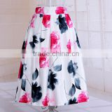 wholesale flower printed ruffled gather table lady fancy long maxi skirts