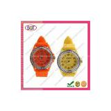 Fashion Quartz and Digital Silicone Strap Ladies Watch with Rhineshine,Multi Styles and Customized Watch Logo