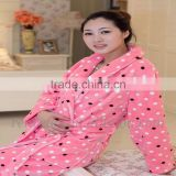 colorful spot flannel fleece for ladies winter gown