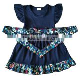 wholesale clothing flutter sleeve bowknot toddler kids clothes girl dress Floral printing ribbon navy kids summer clothes