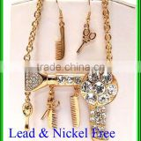 Beauty shop theme dryer brush comb mirror dangle large scissors link necklace earring set