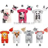 summer cartoon animal organic cotton baby romper bodysuits with hat