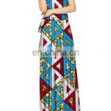 high quality convertible dress african wax fabric long dress V neck beach boho maxi dress feminine plus size wholesale
