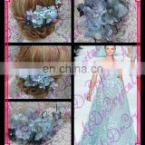 Aidocrystal classic blue flower hair pins with crystal hair accessories,floral tiaras,princess hair clip