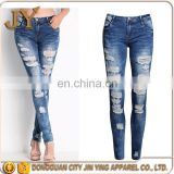 Ladies Jeans Denim Skinny 2016 Cotton Stretch Women Bleach Proof Ripped Jeans Wholesales Apparel for Women
