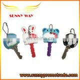 new design soft pvc key case with metal bead