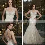Elegant shealth sweep train slim over lace applique mermaid alibaba wedding dresses with open back