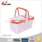 fashion rectangular plastic food storage basket with lid
