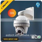HD AHD 960P Indoor Mini IR High Speed Dome 3X optical zoom 3-10mm lens 1.3Mpixes PTZ camera PC Polished DC12V2A IR Distance 30m
