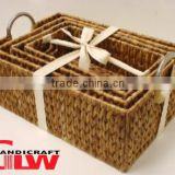Set of 4 braided maize basket in brown with the cut out handle(the XL one with metal handle)