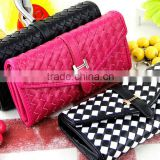 Classic handmade knitting PU women purse