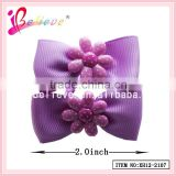 The best price from factory plastic flower ribbon bow thin hair elastic band (XH12-2107)