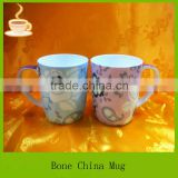 china white coffee cup with flower printing, porcelain mug wholesale, white ceramic tea mugs