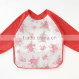 Japanese wholesale high quality product baby plastic children apron with sleeves bib waterproof for meal with pocket EVA film