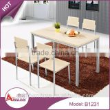 Dining room furniture modern cheap melamine panel wooden 4 seater low dining table designs