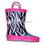 charming printed kids rain boots with handle,girls good quality customized rain shoes,fancy rubber boots children