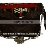 Wholesale handmade Moroccan kilim clutch bags envelope style genuine leather handwoven kilim ref010