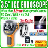"DVR Endoscope Borescope 3.5"" LCD 1M Recordable 5x Zoom Free 8GB Video 3.9mm Inspection Camera"