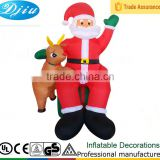 DJ-513 santa claus with Reindeer decor sitting inflatable merry christmas hand up