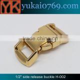 "Yukai 1/2"" gold metal curved buckle for bags bracelets bag accessories metal buckle"