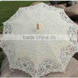 lace Material and craft lace umbrellas,Umbrellas Type craft lace hook handle Antique battenburg lace wedding parasol and fan set