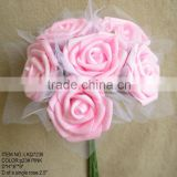 Wedding decorations special heads shape pink Artificial foam Flowers rose 6 heads Wedding bridesmaids Bouquet