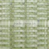 8mm Glossy Glass Mosaic with Green Onyx Marble for Kitchen