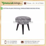Excellent Quality Stylish Look Cotton Plain Dyed Rug Upholstered Round Stool from Top Dealers