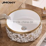 Round ceramic art basin for bathroom hot sales wash hand sink factory countertop basins
