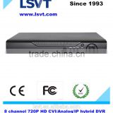 8 channel 720p HDCVI/Analog/IP Hybrid H.264 DVR, support 3G, WIFI, Onvif, with 1 HDD to 4tb, 2 USB