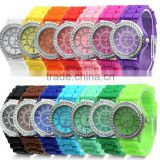2013 classic large face mens watches crystal rhinestone wrist watch with siicon band