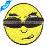3D Custom Embroidery emoji dokoh patch of self adhesive fabric clothing brand patch and for hats