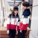 cheap high quality zip up hoodie cut and sew couple sweatshirt